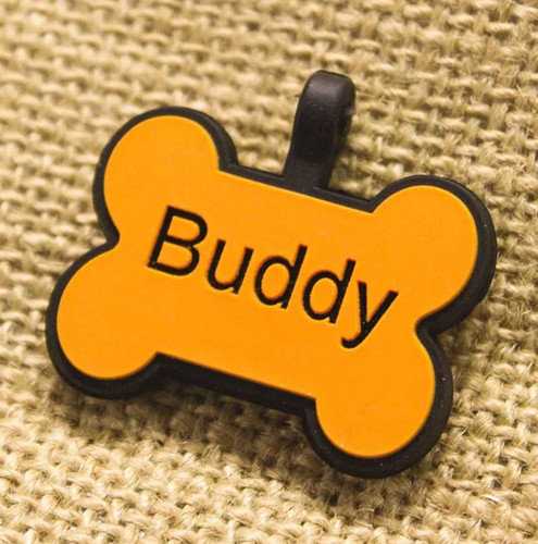 Silent Dog ID Tag | Bone Orange