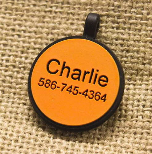 Silent Dog ID Tag | Circle Orange