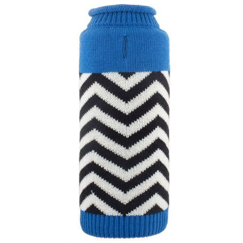 Worthy Dog Chevron Roll Neck Dog Sweater | Blue