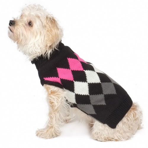 Modern Argyle Roll Neck Dog Sweater | Black
