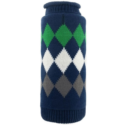 Worthy Dog Modern Argyle Roll Neck Dog Sweater | Navy