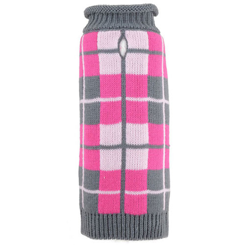 Worthy Dog Oxford Plaid Pink Roll Neck Dog Sweater