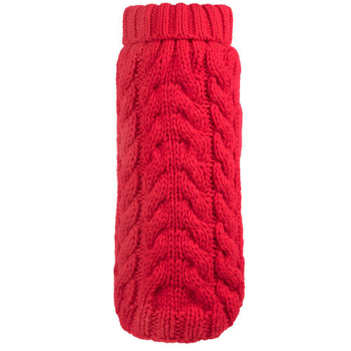 Hand Knit Turtle Neck Dog Sweater | Red