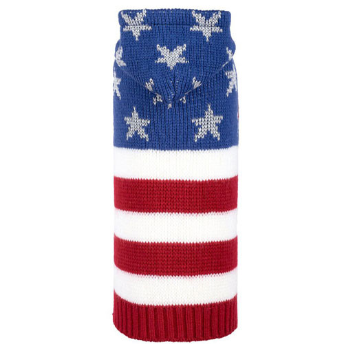 Worthy Dog Stars & Stripes Dog Sweater w/ Hoodie
