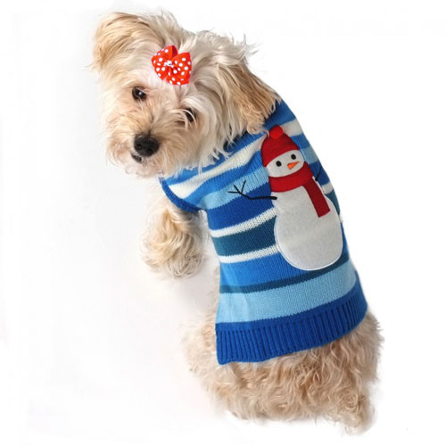 Worthy Dog Snowman Stripe Roll Neck Dog Sweater