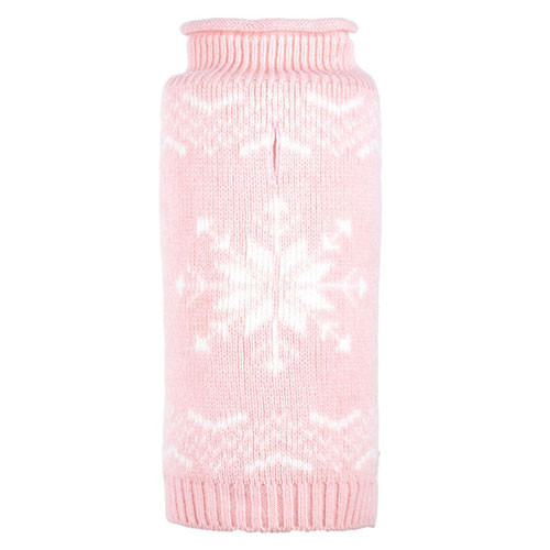 Worthy Dog Snowflake Icy Pink Dog Sweater