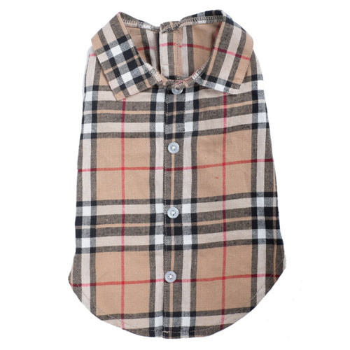Worthy Dog Flannel Shirt | Tan Plaid