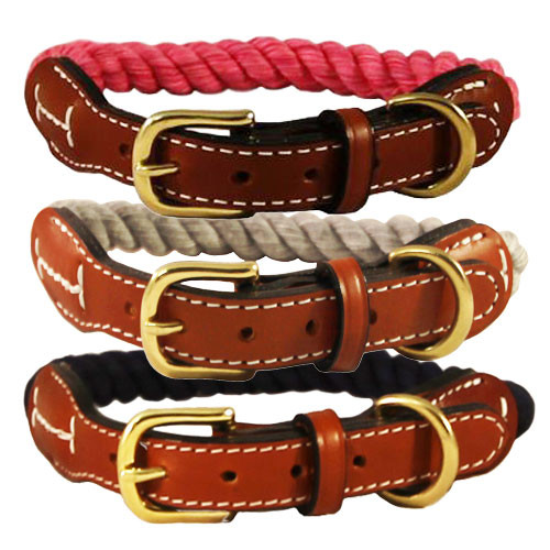 Natural Cotton & Leather Rope Dog Collar