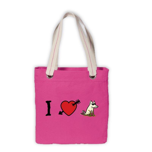 Canvas Tote | I Love Dogs | Pink