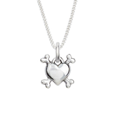 Sterling Silver Human Necklace | Heart & Bones