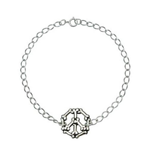 Sterling Silver Human Bracelet   Peace Sign in Bones