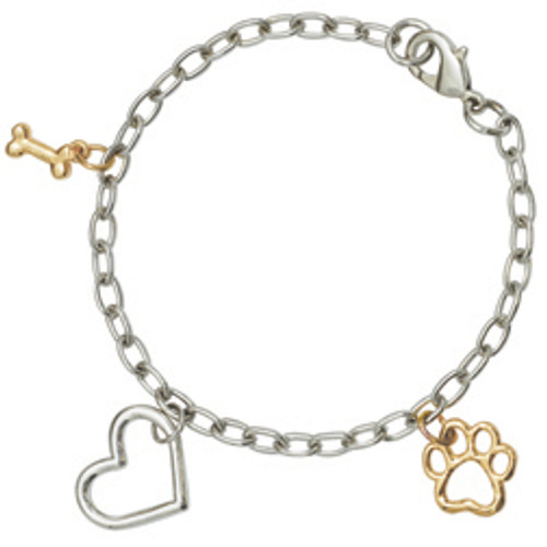 Fashion Bracelet | Two-Tone Heart, Bone, Paw