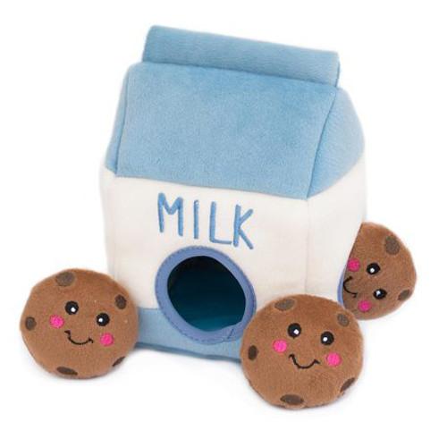 Interactive Plush Burrow Dog Toy | Milk & Cookies