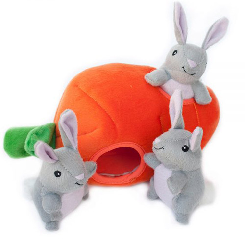 Interactive Plush Burrow Dog Toy | Carrot & Bunnies