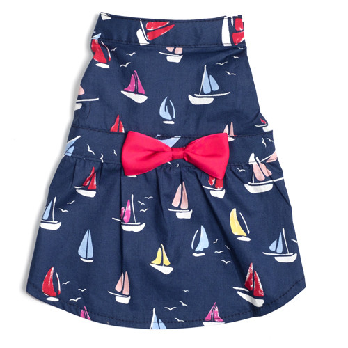 Worthy Dog Cotton Dog Dress | Navy Sailboats