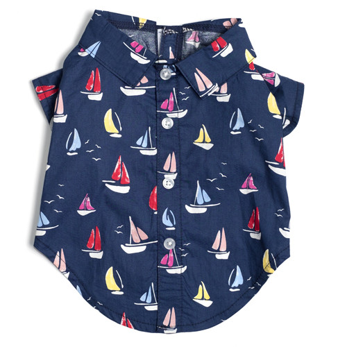 Worthy Dog Cotton Shirt | Navy Sailboats