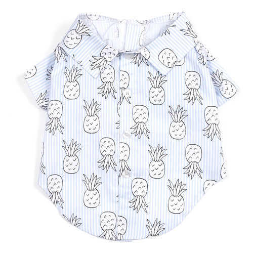 Worthy Dog Cotton Shirt   Blue Pineapples