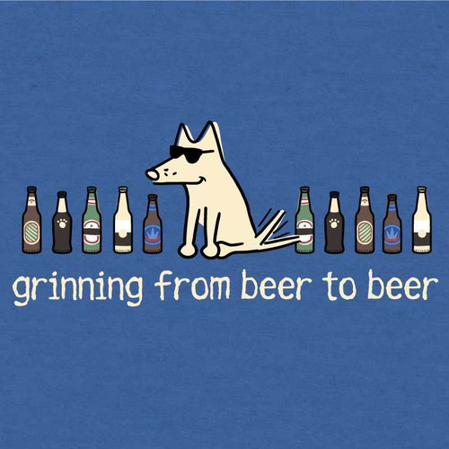 Grinning From Beer to Beer T-Shirt - Heather Royal