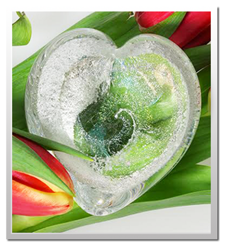 Memorialized Blown Glass Art Ashes | Crystal Heart
