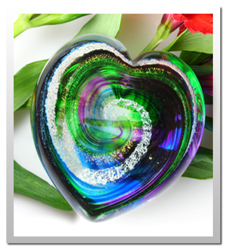 Memorialized Blown Glass Art Ashes | Green/Blue/Purple Heart