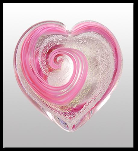 Memorial Blown Glass Art Ashes  | Pink Heart