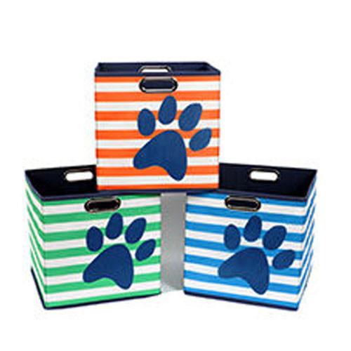 Pawprint U0026 Stripe Dog Toy Storage Bin
