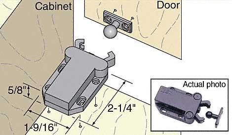 Seismic Resistant Cabinet Door Push Latch 4 Latch Minimum
