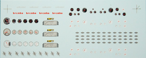 Gauges, Hood Pins, Dzus Fasteners & Brake Calipers Decal Sheet 1/25