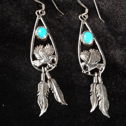 665d39416 Native Indian made Sterling Silver And Turquoise Eagle Earrings