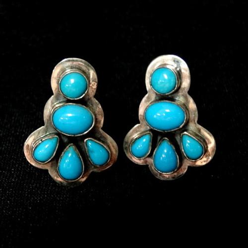 54a6f0134 Bezel-set Sleeping Beauty Turquoise Clip Earrings by Navajo, Mario D