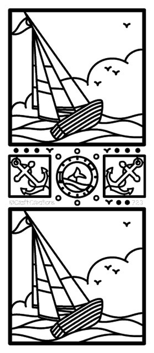 Craft Creations Peel-Off Sticker - Sailboat Scene  GOLD  723