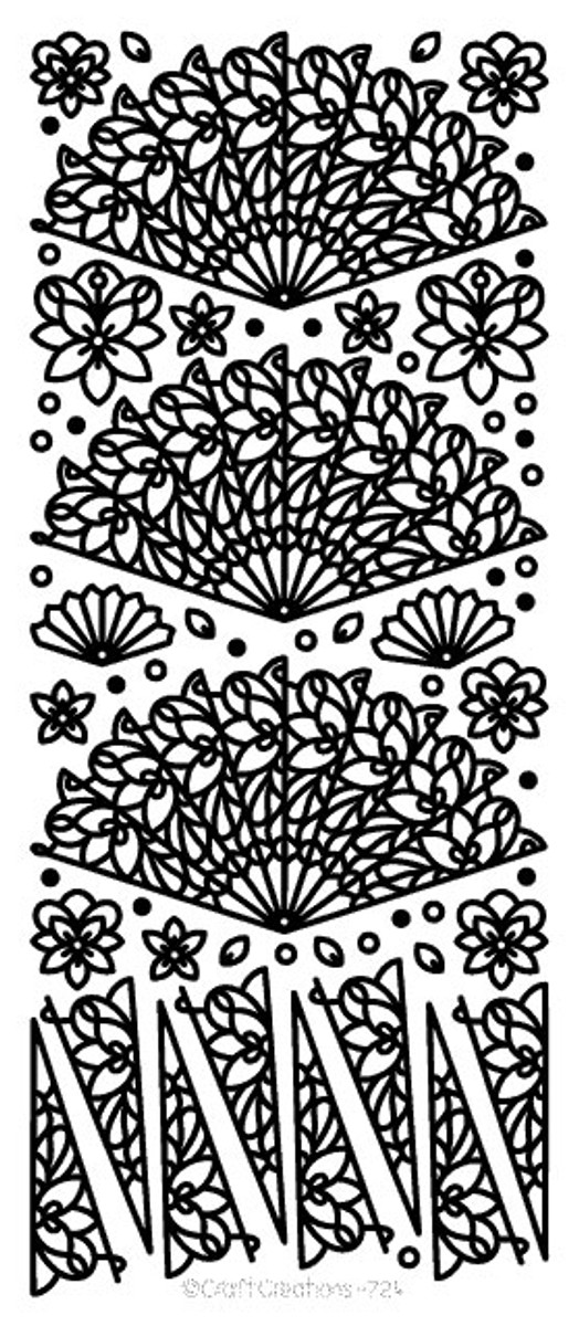Craft Creations Peel-Off Sticker - Pretty Fans SILVER  724