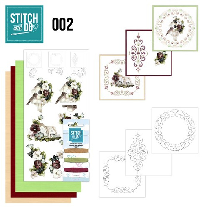 Stitch and Do 2 Card Embroidery Kit - Birdhouses