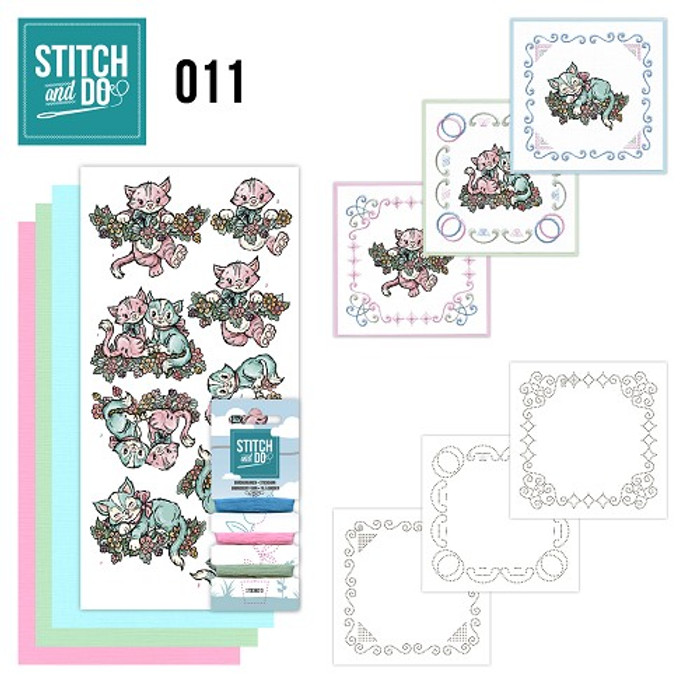 Stitch and Do 11  Card Embroidery Kit - Cats