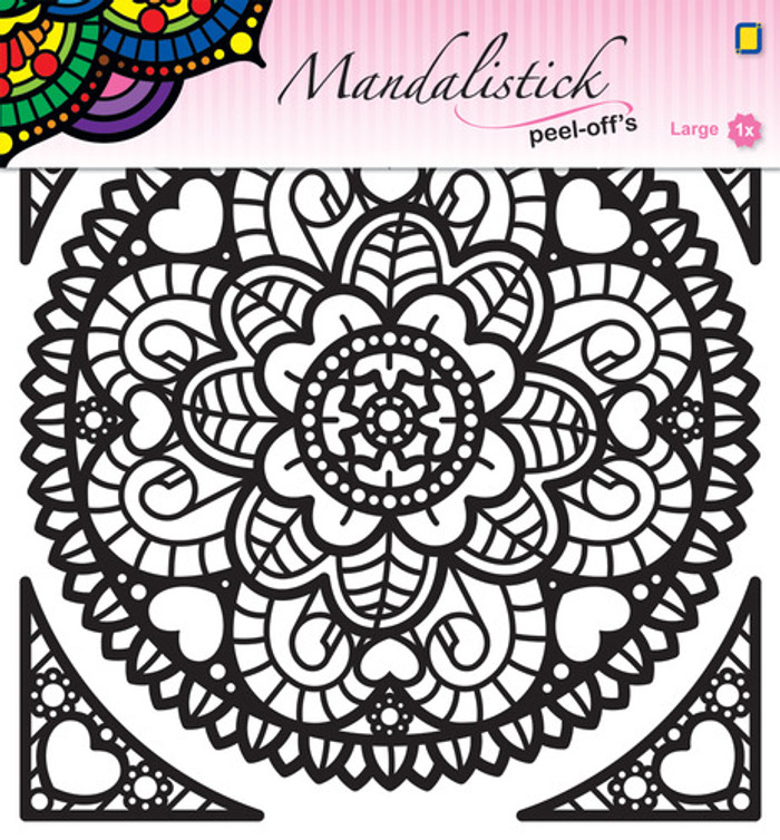 JeJe Peel-Off Sticker  -  Mandala #1  BLACK 190mm  3.9242