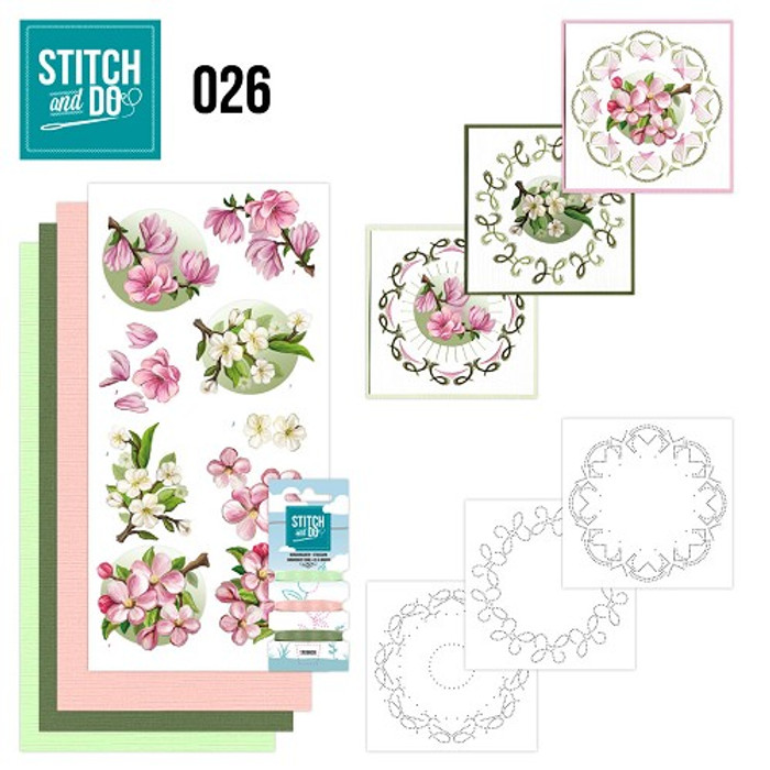 Stitch and Do 26 - Card Embroidery Kit - Spring Flowers