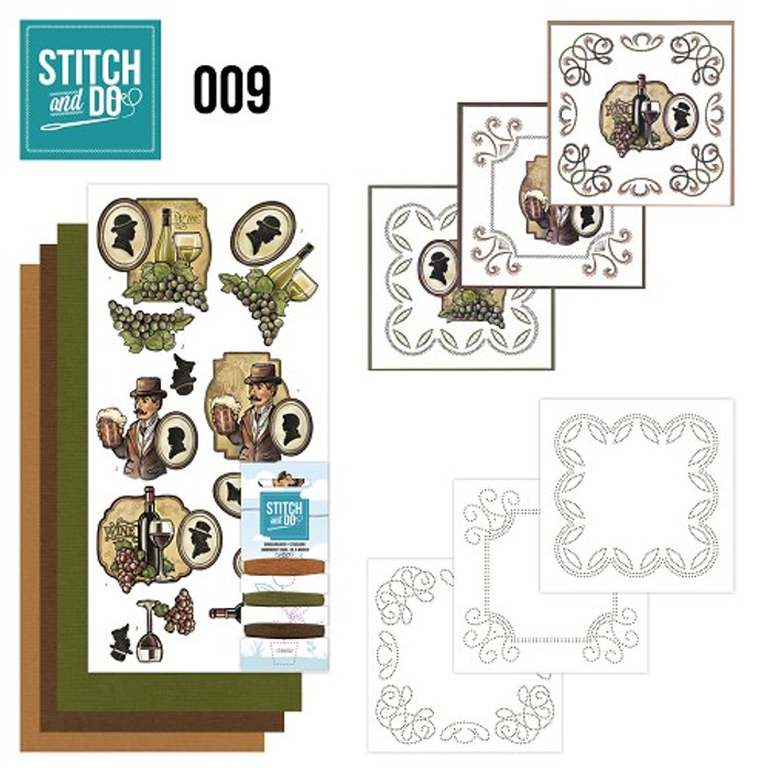 Stitch and Do 9 - Card Embroidery Kit - Wine & Beer