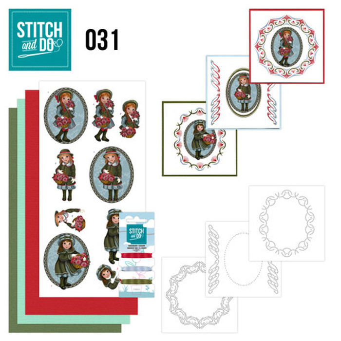 Stitch and Do 31 - Card Embroidery Kit - Girl with Flowers