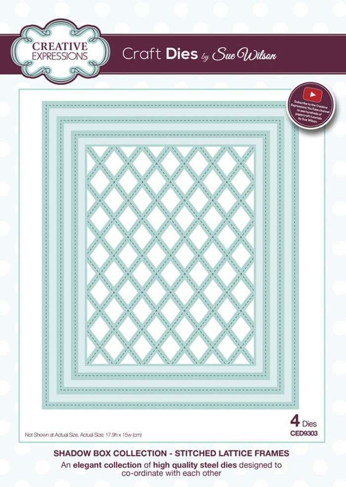 Sue Wilson - Shadow Boxes Collection - Stitched Lattice Frames Dies CED9303 - Pre-Order 15% Off