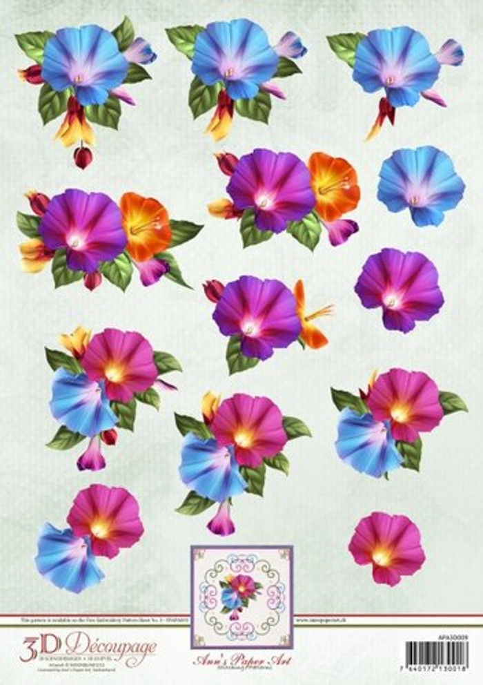 3D Sheet Ann's Paper Art - Morning Glory APA3D009