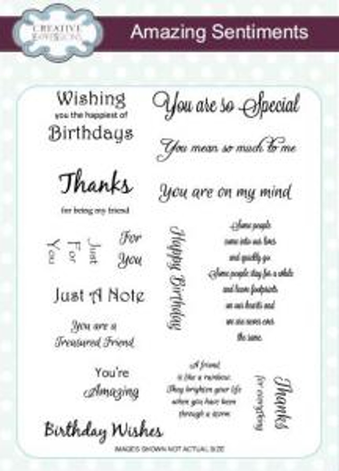 Creative Expressions A5 Unmounted Stamp Plate - Amazing Sentiments CEC702 Pre-Order 15% Off