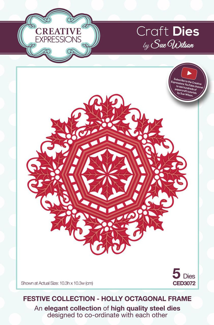 Sue Wilson - The Festive Collection - Holly Octaganol Frame CED3072 - Pre-Order 15% Off