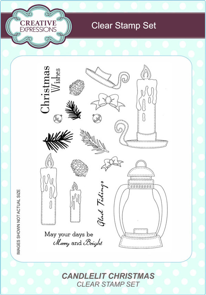 Creative Expressions Candelit Christmas A5 Clear Stamp Set by Lisa Horton CEC795 - Pre-Order 15% Off