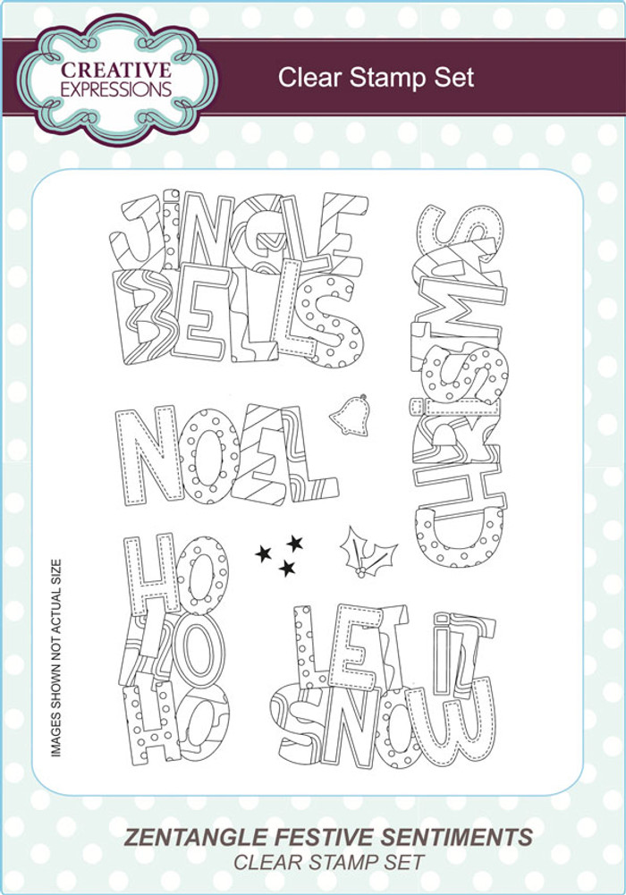 Creative Expressions Zentangle Festive Sentiments A5 Clear Stamp Set by Lisa Horton CEC791 - Pre-Order 15% Off