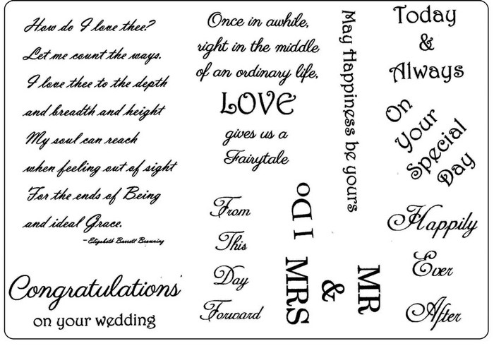 Creative Expressions A5 Unmounted Stamp Plate - Wedding Greetings - 10 Stamps Pre-Order 15% Off