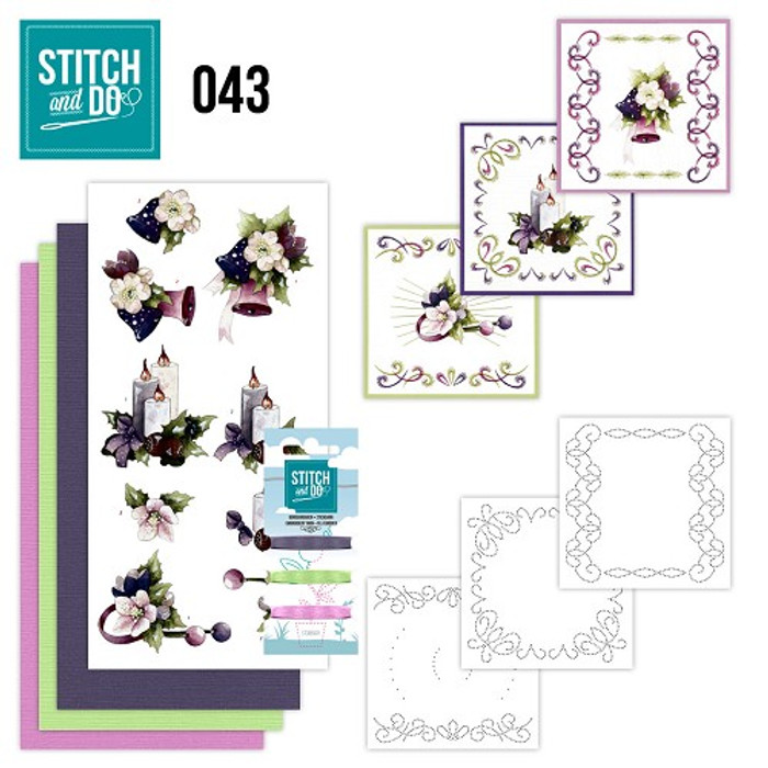 Stitch and Do 43 - Card Embroidery Kit - Purple Christmas