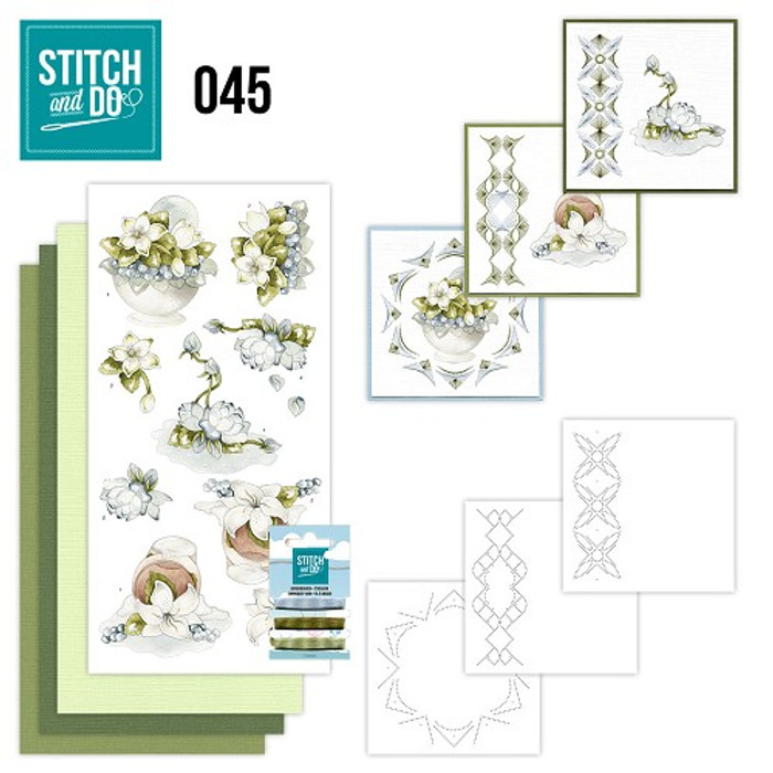 Stitch and Do 45 - Card Embroidery Kit - White Flowers