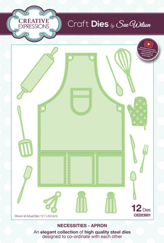 Sue Wilson Necessaties Collection Dies -  Apron CED23001 - Pre-Order 15% Off