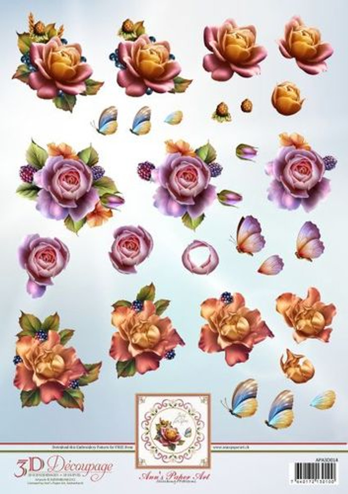 3D Sheet Ann's Paper Art - Autumn Roses  APA3D014