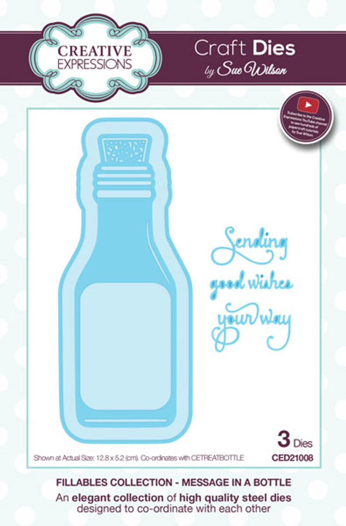 Sue Wilson Message in a Bottle Dies Fillables Collection CED21008